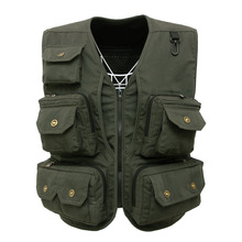 Multi Pocket waistcoat army green color Photographer director reporter outdoor worker advertising fishing men's canvas vest(China)