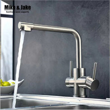 SUS 304 Kitchen Tap Faucets double function three way kitchen Drinking Water Faucet for Filtered 3 Way Mixer Torneira