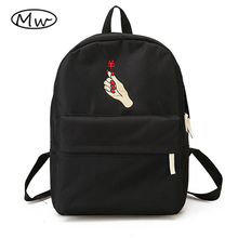 Moon Wood Unisex Backpack Black White Harajuku Embroidery Heart Couple Backpacks School Bags For Teenager Girls Boys Rucksack