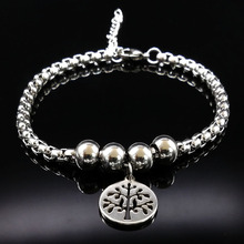 Tree of Life Stainless Steel Bracelet Women Round Bead Silver Color Bracelet Jewelry acero inoxidable pulsera B61279