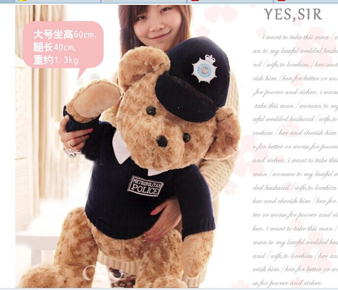 blue colour ,stuffed animal 60 cm police suit teddy bear plush toy soft bear doll w2116<br>