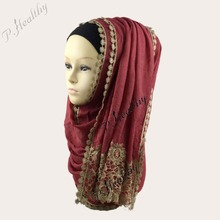 2016 Newest Plain Shiny Viscose Lace Scarf Shawls Muslim Wedding hijabs Spring Bridal Wrap,Women Scarfs,Can choose colors, PH004(China)