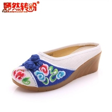 retro canvas embroidery shoes women sandals wedges flip flops casual slides Summer flowers platforms slippers ladies mules heels