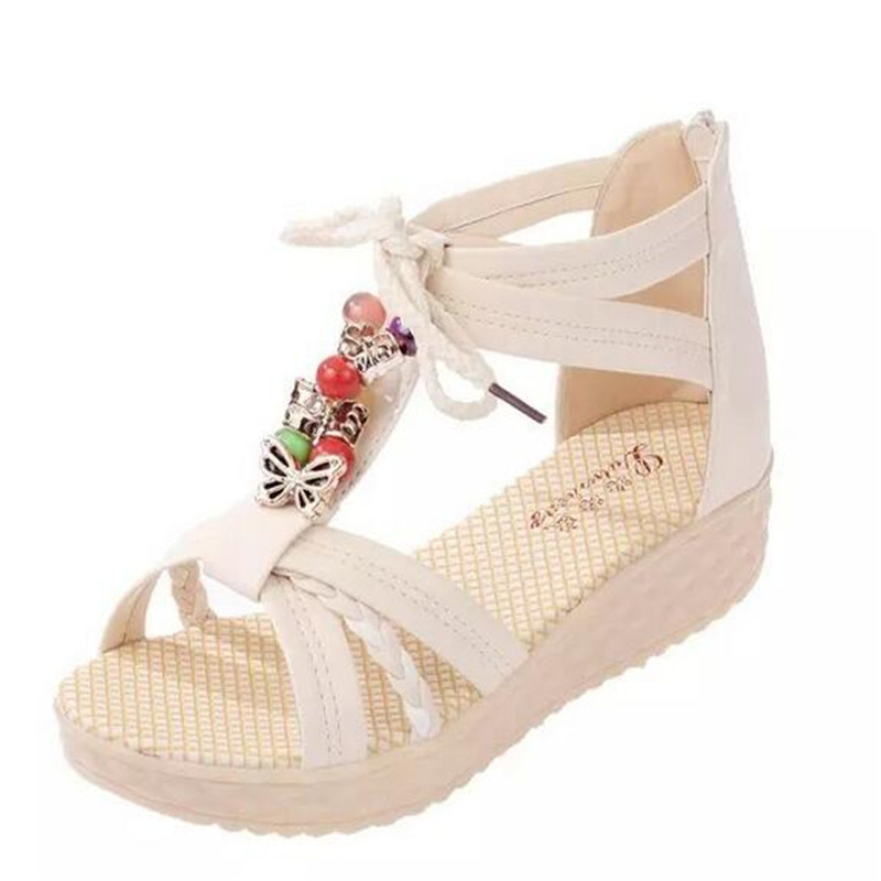 New Bohemian Summer Women Sandals zapatos mujer Leather Soft Basic Summer Style Womens Shoes Low Heel Flat Ladies Sandals X332<br><br>Aliexpress
