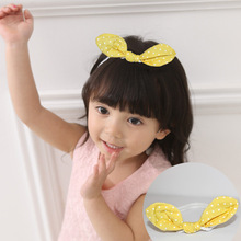 New Fashion Korean Princess Headband Yellow Dots Rabbit Ears Bow Hairbands Girls Headwear Kids Hair Accessories(China)