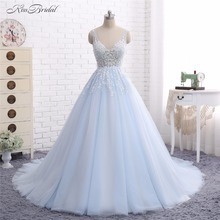Baby Blue Wedding Dresses Vestido de Noiva 2017 A Line V Neck Lace Appliques Tulle Bridal Gown Robe de Mariee