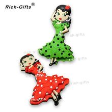 Customized OEM/ODM Gift Promotional Items With Your Logo Permanent Fridge Magnets Souvenir Spanish dancers 1000PCS/Lot (RC-ES)