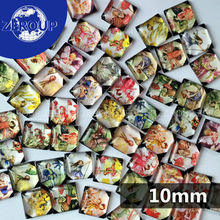 50pcs/lot 10mm clear square glass cabochon The Girl with Brandished Wings pattern mixed color fit cameo base setting