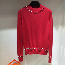 Women Sweater 2017 Long Sleeve Red Beading Pullover Sweater Woman Fashion Autumn Brand Sweaters(China)
