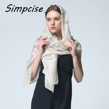 [Simpcise] Women Lace Scarves 2017 Fashion Scarf Luxury Brand bandana hijab Foulard Femme Embroidery Scarf Shawl S9A189040(China)