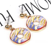 Doreen Box Korean Style Trendy Zinc Alloy Stud Earring Doughnut Shape Kawaii Ear Decoration For School Girl Adlut 26x16mm 1 Pair