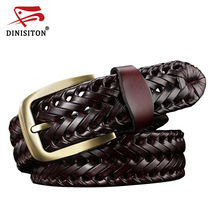 DINISITON Woven belt genuine leather women's straps man belts Wide girdle Male cow skin vintage fashion brand ceinture femme(China)