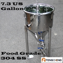 Conical Fermenter, 7.3 US Galon, Sanitary Weld, Food Grade 304SS,