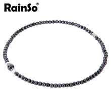 Rainso Women Nacklace Elegant Style Healthful Magnetic Hematite Pendant Jewelry OHN-380B(6MM) 18""