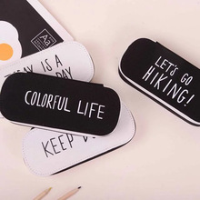 Kawaii Black White Colorful Life Fantastic Day Canvas Pencil Case Pen Bag Box Stationery Storage Pouch School Supply Girls Boys