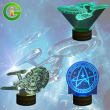 3D Star Trek Battleship Night Light  Color changing Wood Touch Remote Control LED Visual Atmosphere Deco Bulbing Table Lamp