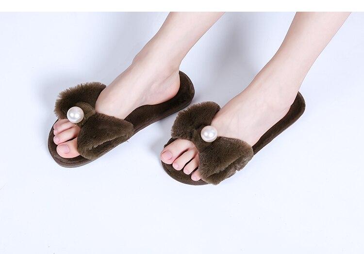 2018 Cute Women Slippers Fluffy Plush Fur Slides Autumn Winter Furry  Bowknot Flats Pearl House Shoes Woman Home Flip Flops 9d6e3d6c4d27