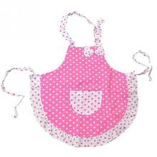 Lovely Cartoon Pink BowKnot Dot Apron Cute Child Kids Apron For Kids Kitchen Art Baking Painting Game Keep Cleaning Avental(China)