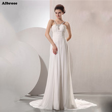 Buy Sexy Beach Wedding Dress Crystals Beades Elegant Ivory Wedding Dresses Long Bridal Gowns Chiffon Formal Dresses vestido de noiva for $115.20 in AliExpress store