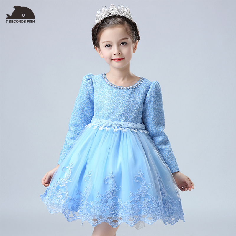 summer children clothing 2018  Chinese  embroidery long sleeve Floral spring princess dress kids lace dress<br>