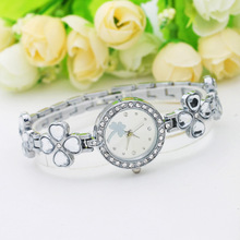Top Brand Women Watches Bracelet Bangle Girl Quartz Wrist Watch Lucky Clover Alloy reloj dama(China)