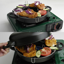 Stainless Steel Outdoor Fry Pan + Non-stick Griddle Plate Set for Travel Camping Hiking Picnic Furnace Bbq Barbecue Grill