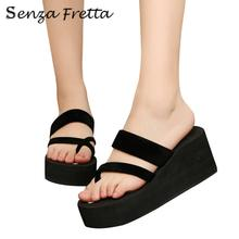 2017 New Summer Woman Shoes Wedge Platform Flip Flops Women Summer Shoes Beach Sandals Ladies Thick Slippers LDD0189