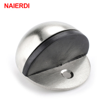 NAIERDI Zinc Alloy Door Stopper Chrome Half Moon Wood Door Holder 46mm Dia Casting Floor-mounted Door Stops Furniture Hardware(China)