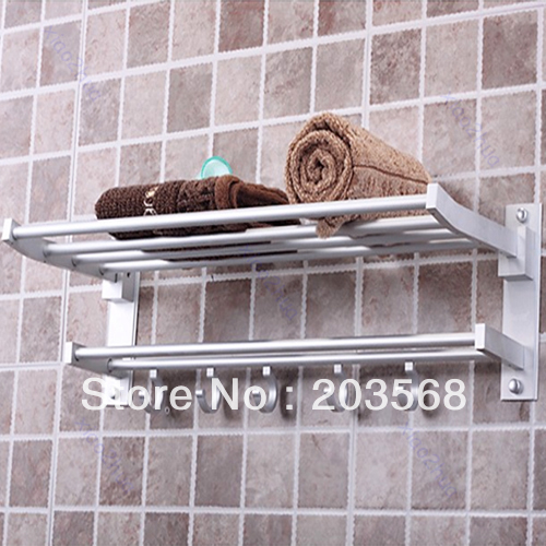 A96  ! Foldable Alumimum Towel Bar Set Rack Tower Holder Hanger Bathroom Hotel Shelf#XY#<br><br>Aliexpress