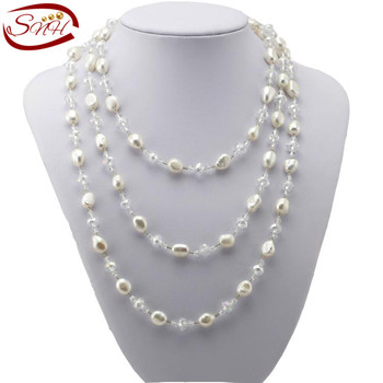 SNH 2015 Настоящее Пресной Воды Жемчужное Ожерелье Долго Природного genuine Pearl Ожерелье для Женщины