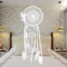 Indian Style White Handmade Butterfly Dream Catcher Feather Bead Dreamcatcher Window/Car/ Wall Hanging Decoration Ornament