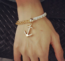 Wholesale New Fashion   gold filled leather rope chain anchor charm bracelets Valentine's Day gift for women B3217
