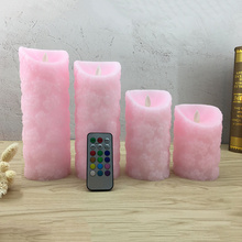 Lovely wireless remote led candle led night light,Made by real wax,Unique pink cherry floral embossed finishing, home decoration(China)