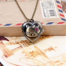 New Cartoon Bronze Heart Shaped Hello Kitty Pocket Watch Necklace Vintage Jewelry wholesale Korean sweater chain Wholesale