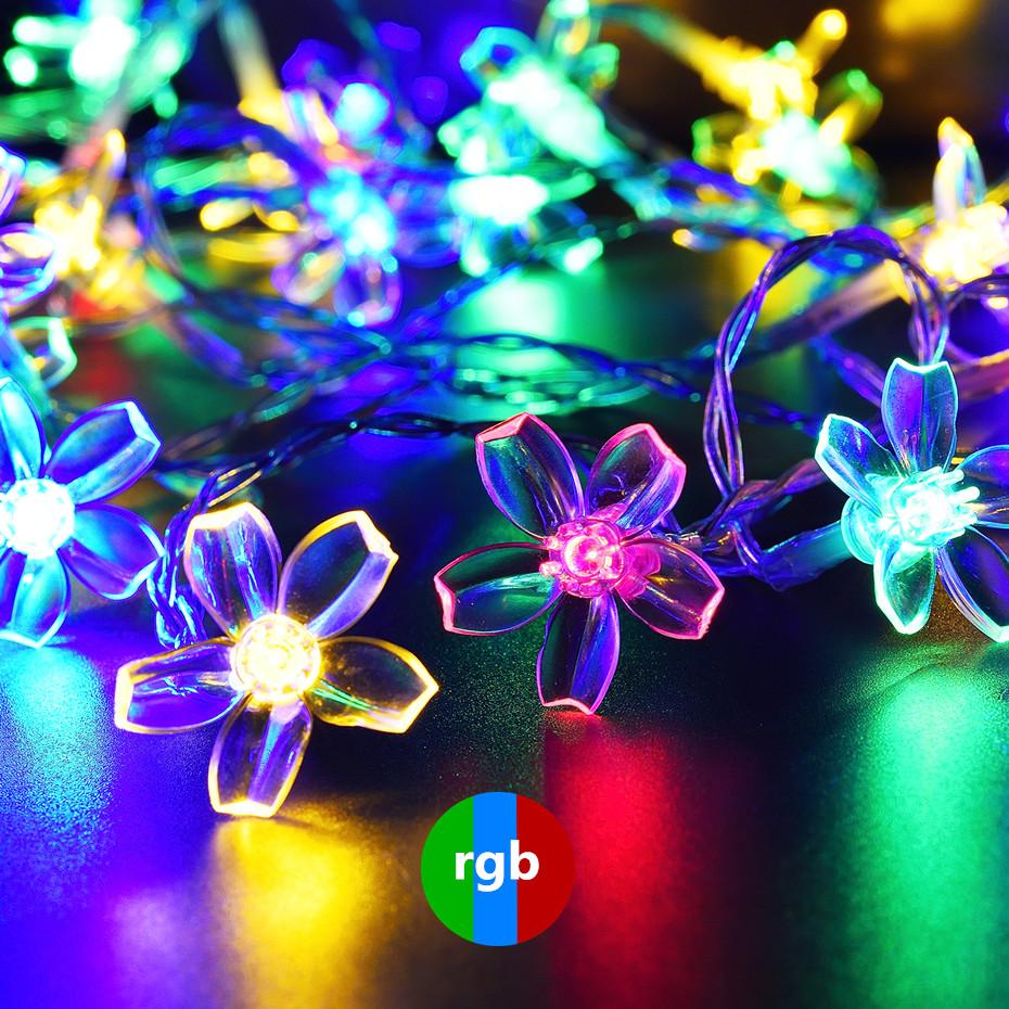 OSIDEN Solar String Lights 8M 60led Peach Flower Waterproof Outdoor Decoration Lighting XAMS Fariy Christmas Lights Garden 12