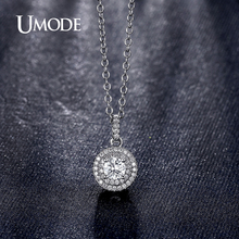 UMODE 2016 New Fine Craft Halo 0.5ct Cubic Zirconia White Gold Color Pendant Necklaces Jewelry for Women Colar Bijoux UN0229B