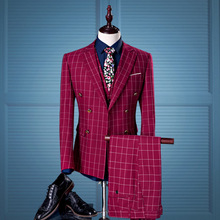 Men Suit 3piece (Jacket+Pant+Vest) British Wine Red Slim Fit Men Suit Set Fashion Tuxedo Dress Suits Plaid Blazer with pants(China)