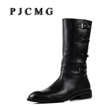 PJCMG New Men's High Boots Genuine Leather High-Leg Martin Male Shoes Zipper Design Tactical Boots Delta Men Black Boots