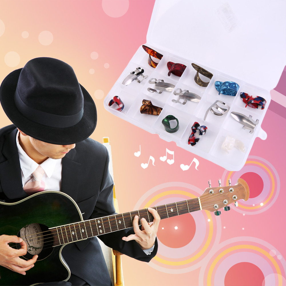 15Pcs Practical Learner Metal Guitar Finger Thumb cover Durable Men Women Use Electric Guitar Slider Finger Instrumental  <br><br>Aliexpress