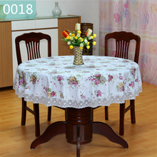 PVC Table Clothes Round Waterproof Plastic Tablecloth White Lace Edge Pastoral Floral Printed Anti-Hot Coffee Table Cover(China)