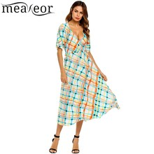 Meaneor Check Print Maxi Beach Dress Lace-up V-Neck Short Sleeve Loose Women Beach Dress 2017 High Waist Summer Dress Vestidos