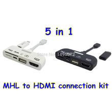 5 in 1 Micro USB MHL to HDMI HDTV Adapter Connector Connection Kit+TF/SD Card Reader+OTG Data Cable for Samsung S3/S4 Note 2/3