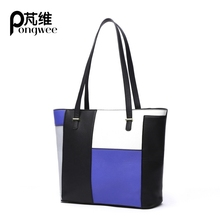 PONGWEE Bag Large Handbags Women Handbag Artificial Leather Splicing Hit Color Pattern Bag Ladies Portable Clossbody Shoulder