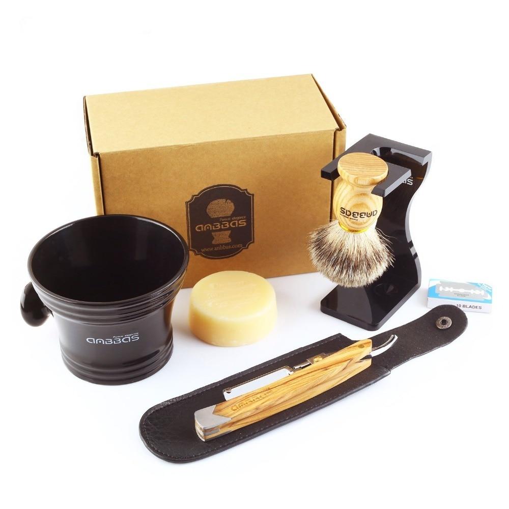 Anbbas 7Pcs Shaving Set Solid Olive Wood Handle Straight Razor Shaving Knife,Silvertip Badger Brush,Stand,Resin bowl,Soap,Blades<br>