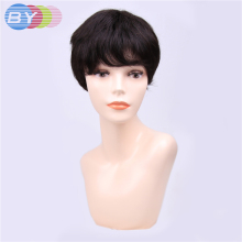 2018 Real Promotion By Hair 1b Natural Black Color Non-remy Human Brazilian Wave One Piece Short Bob Wigs(China)