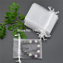 Wholesale 100pcs/lot 7x9cm white Christmas Wedding Drawable Organza Voile Gift Packaging Bags&Pouches(China)