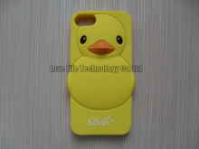3D Cute Yellow B. Duck Silicon Cases Covers Skins Shields Housings for iPhone 5 5S 5C with  Available 7 Colors + Freeshipping