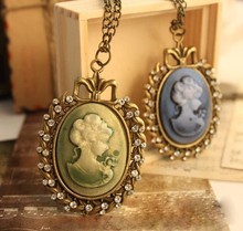Antique Rhinestone Victorian Cameo Necklace Maria Beauty Head Necklace China Necklace