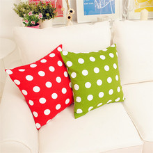 Home Decorative Fresh Style Big polka Dot Red Green Cotton Canvas Pillow Cover/Pillowcase for Sofa / Chair Accept Customize(China)