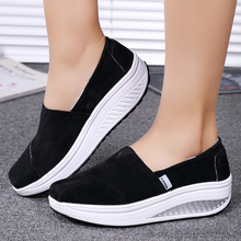 NEW Arrival Women's Solid Slip On Loafers Shoes Breathable Light Toning Walking Slimming Sports Shoes Swing Wedges Platforms